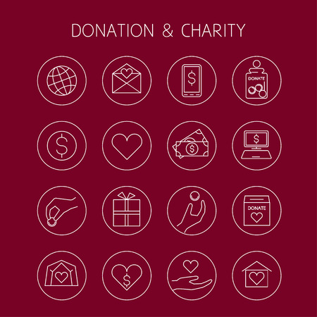 financial item: Donation and charity vector linear icons