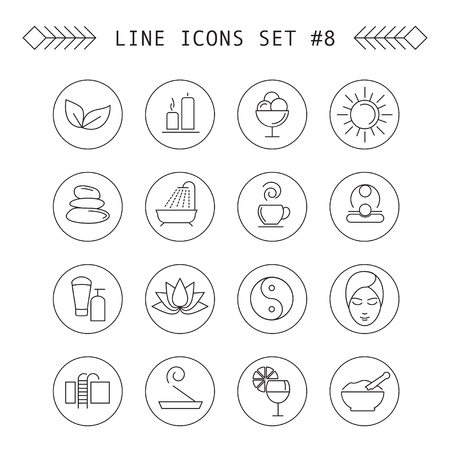 swimming candles: Spa and leisure linear icons