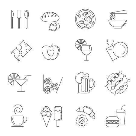 Different food and drink linear icons