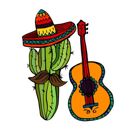 civilization: Isolated maxican symbols - cactus, sombrero and guitar