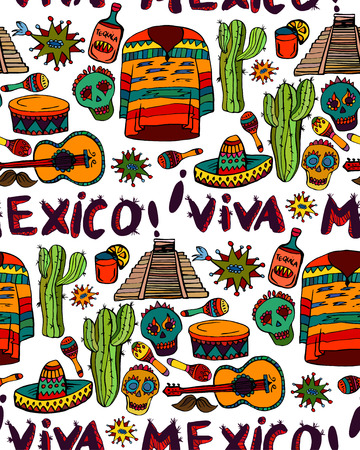 Seamless pattern with mexican symbols - Viva Mexico