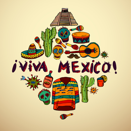 Seamless pattern with mexican symbols - Viva Mexico. Isolated on white background.