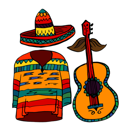 poncho: Isolated maxican symbols - poncho, sombrero and guitar
