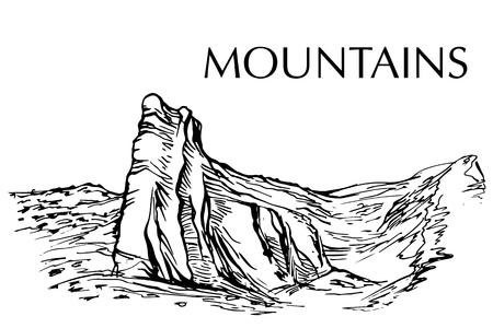 rural area: Ink pen drawn range of mountain