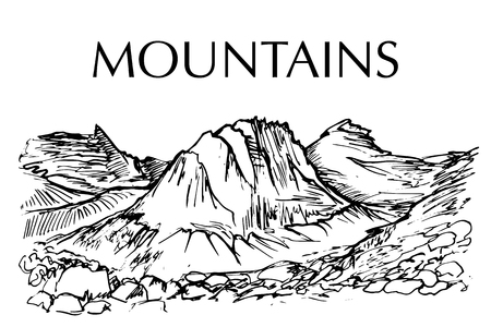 잉크 펜 산의 범위를 그려