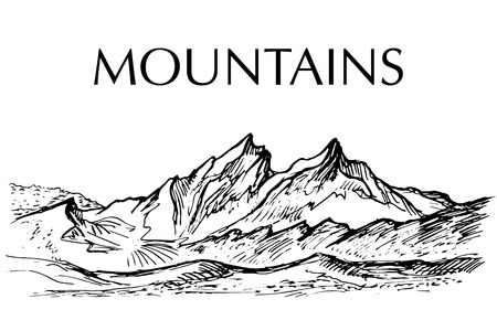 snowcapped mountain: Ink pen drawn range of mountain