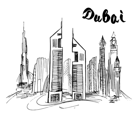 Hand drawn Dubai skyscraper
