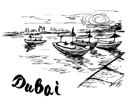 creek: UAE - Dubai creek boats at the creek wharf