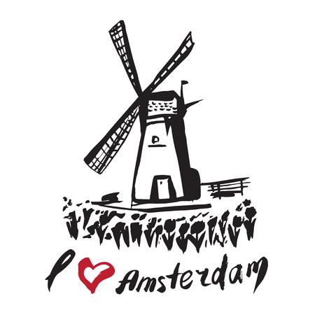Netherlands hand drawn windmill Vektoros illusztráció
