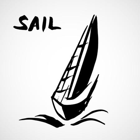caravelle: Hand drawn voilier. Isol� sur fond blanc Illustration