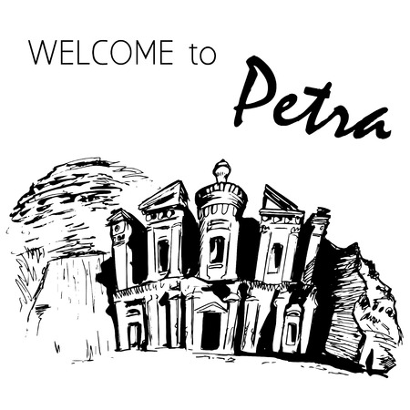 The Monastery in the rocks, Petra, Jordan Illustration