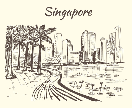 coastline: Singapore coastline with big buildings and lotus Illustration