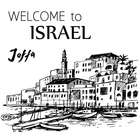 old city: Jaffa old port - Israel. Old houses and small boats. Hand drawn ink pen.