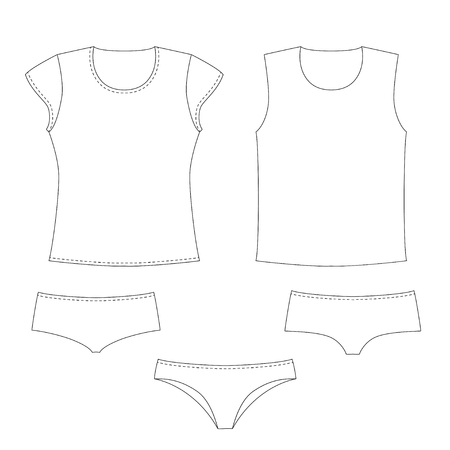 apparel part: Some types of underware and shirts Illustration