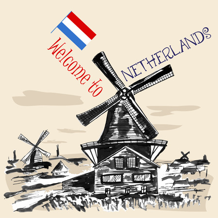 windmills: Traditional  Netherlands landscape with windmills