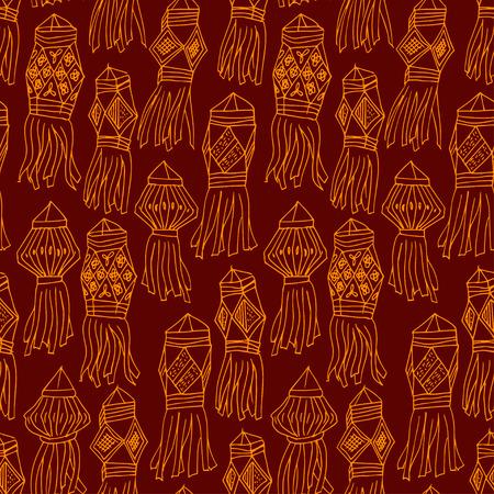 luminary: Seamless dark red pattern with china hanging lanterns