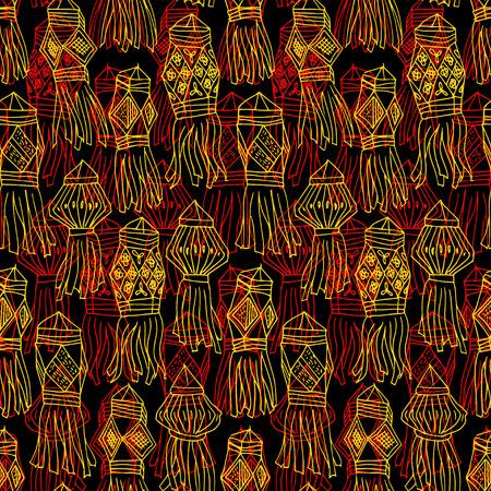luminary: Seamless dark pattern with china hanging lanterns