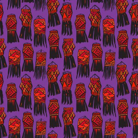 Seamless dark pattern with china hanging lanterns