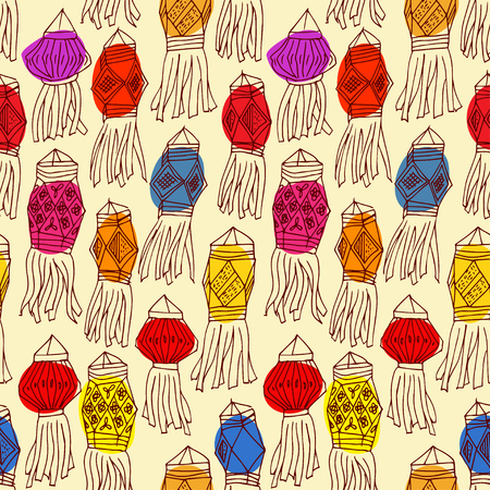 luminary: Seamless pattern with china hanging lanterns