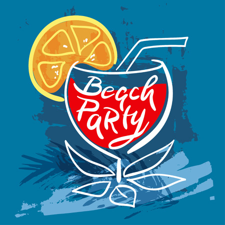 beach party: Colorful summer card Beach party with lemon Illustration