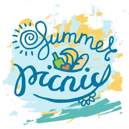 summer picnic: Summer PIcnic typographic grunge card
