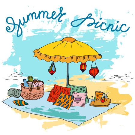 social gathering: Hand drawn picnic on the beach with big umbrella Illustration