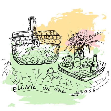 social gathering: Hand drawn picnic place with big basket Illustration