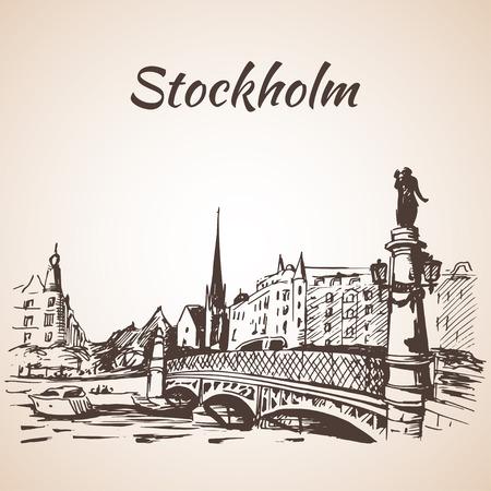 Stockholm sity street view with bridge. Sketch
