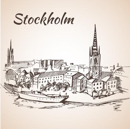 promenade: Stockholm, Sweden - city view. Hand drawn ink line pen. Sketch.