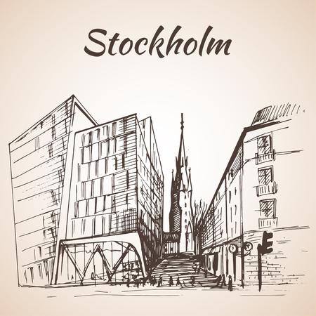 promenade: Stockholm City Station - hand drawn illustration. Sketch.