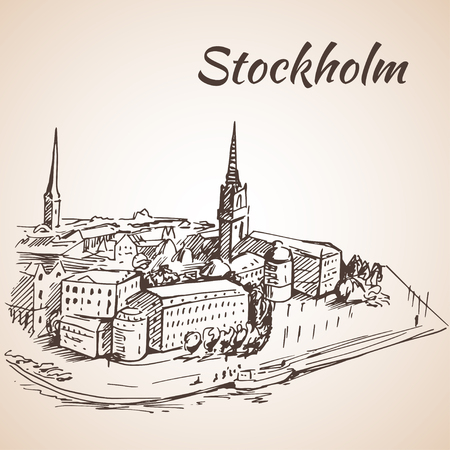 Stockholm, Sweden - city view. Hand drawn ink line pen. Sketch.