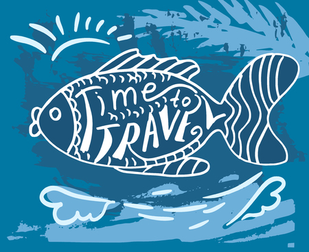 decorative fish: Grunge card with decorative fish and words Time to travel