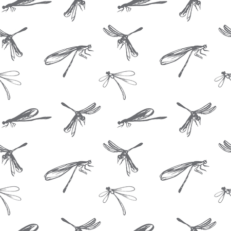 dragonflies: Seamless pattern with dragonflies