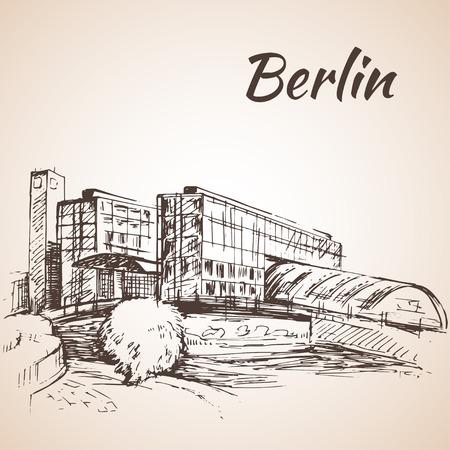 berlin: Hand drawn Hauptbahnhof Berlin - Berlin Central Station