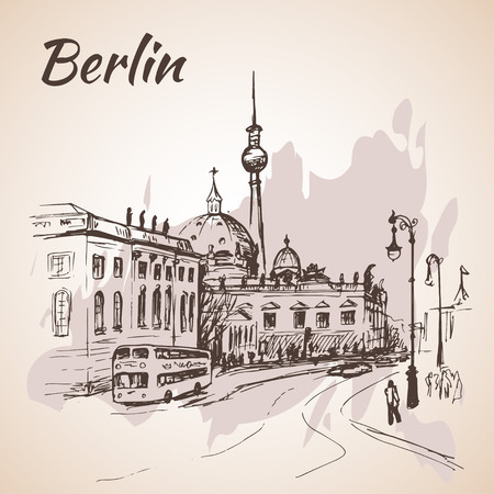 tv tower: Hand drawn Berlin street with buses and Berlin TV Tower Illustration