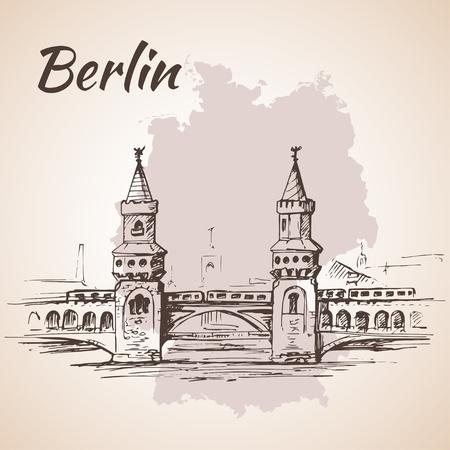bridge hand: Hand drawn Oberbaum Bridge - Berlin, Germany