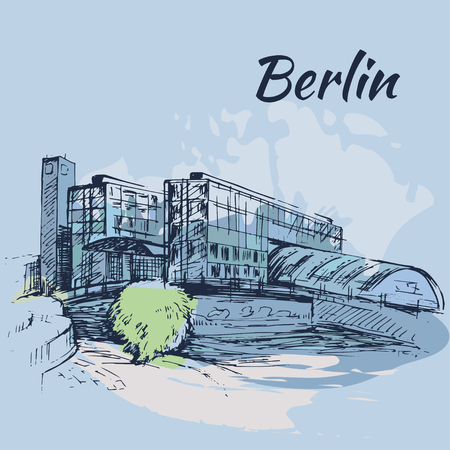 Hand drawn Hauptbahnhof Berlin - Berlin Central Station