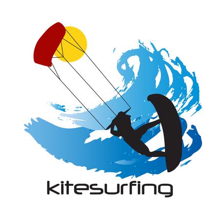 Black Silhouette of kitesurfing man and waves