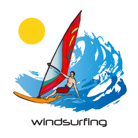 big waves: Colorful picture of windsurfing man and big waves