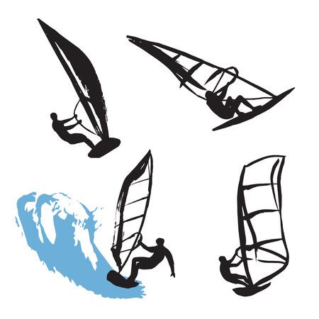 granola: Siluetas negras de hombre y windsurf de olas grandes Vectores