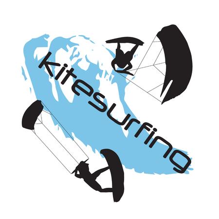 Two silhouettes of kitesurfing men