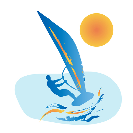 windsurf: Blue silhouette of windsurfing man