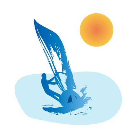 windsurfing: Silueta azul del hombre windsurf Vectores