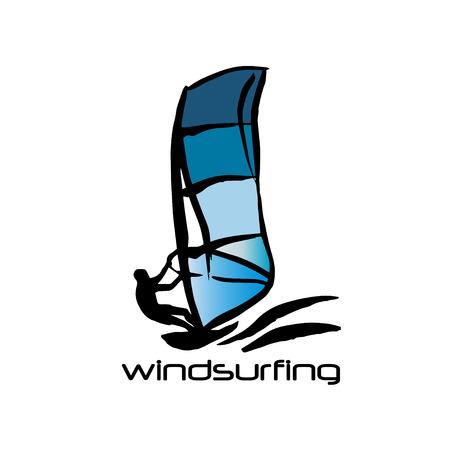 windsurf: silueta y negro azul del hombre windsurf