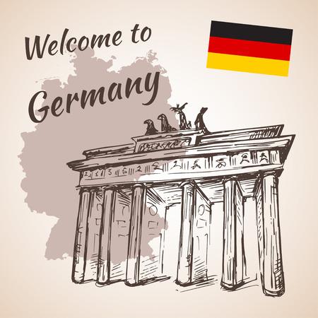 brandenburg: Hand drawn Berlin Brandenburg Gate. Isolated Illustration