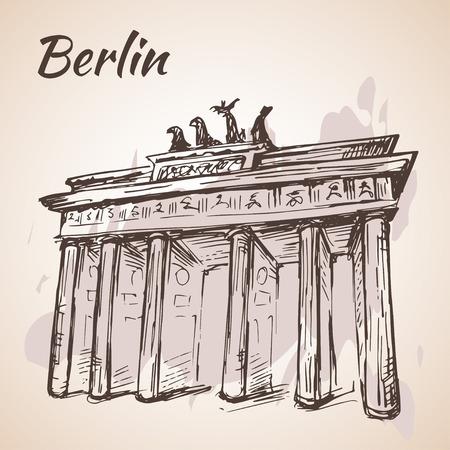 brandenburg: Hand drawn Berlin Brandenburg Gate