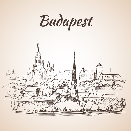 whote: Panoramic view of Budapest - Hungary. Isolated on whote background. Sketch