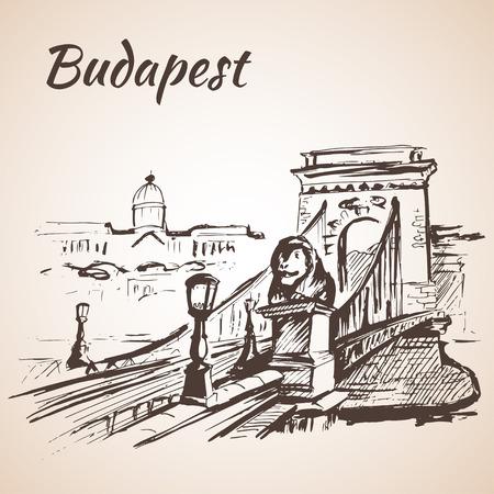 Puente de las Cadenas - Budapest, Hungría. Aislado en el fondo blanco