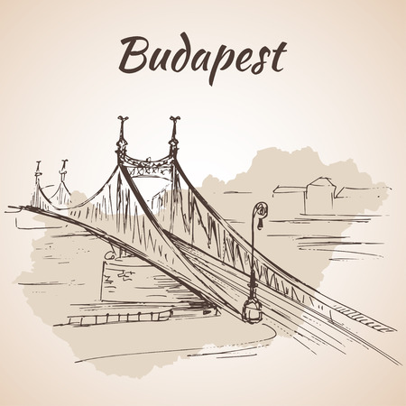 buda: Liberty Bridge in Budapest, Hungary, connects Buda and Pest across the River Danube