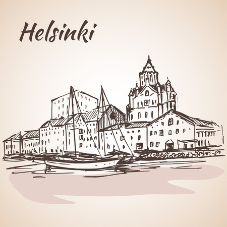 waterfront: Helsinki - harbor, waterfront. Sketch, Isolated on white background.